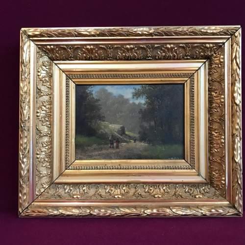 Framed 19th Century M Donat Oil on Panel of Wooded Glen image-1