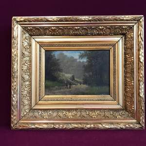 Framed 19th Century M Donat Oil on Panel of Wooded Glen