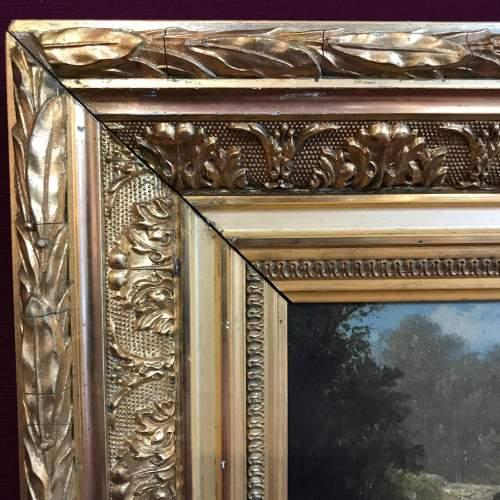 Framed 19th Century M Donat Oil on Panel of Wooded Glen image-2