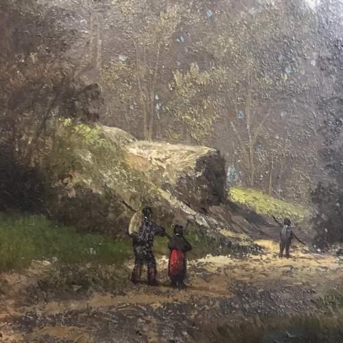 Framed 19th Century M Donat Oil on Panel of Wooded Glen image-4