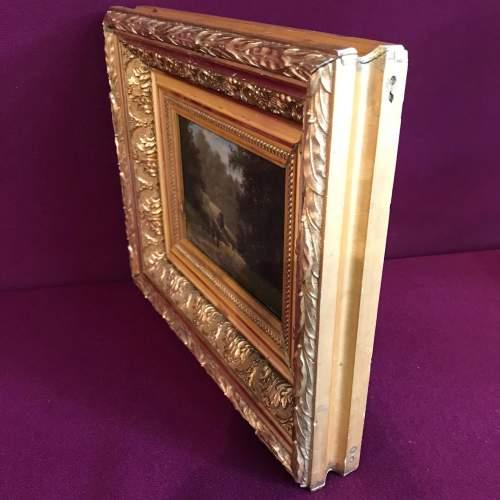 Framed 19th Century M Donat Oil on Panel of Wooded Glen image-5