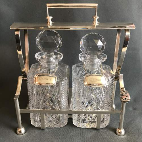 Silver Plated and Cut Glass Tantalus image-1