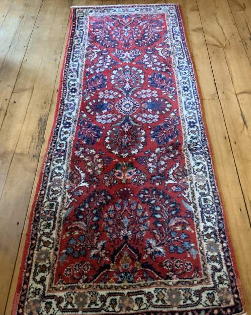 Old Hand Knotted Persian Runner Saruq Floral Medallion Design image-5