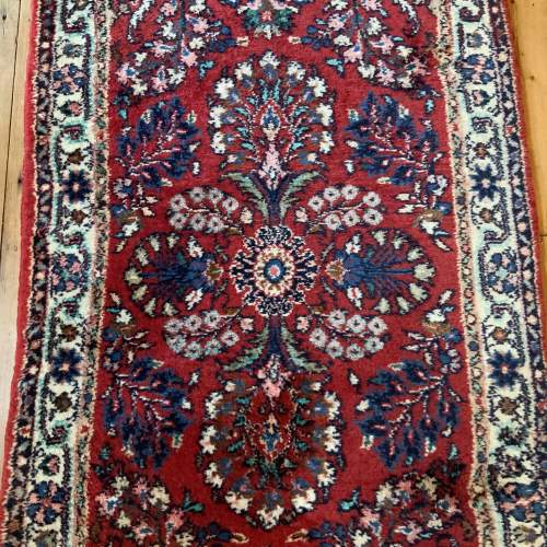 Old Hand Knotted Persian Runner Saruq Floral Medallion Design image-1