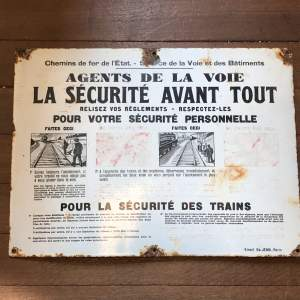 French Railways Enamel Trespass Sign