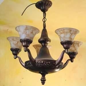 Late 19th Century Bronzed Brass Chandelier