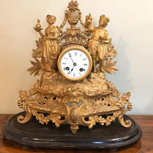 19th Century French Gilt Metal Clock by Japy Freres image-1