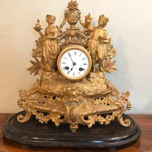 19th Century French Gilt Metal Clock by Japy Freres