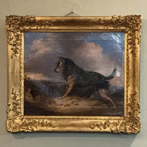 19th Century Oil Painting of a Dog image-1