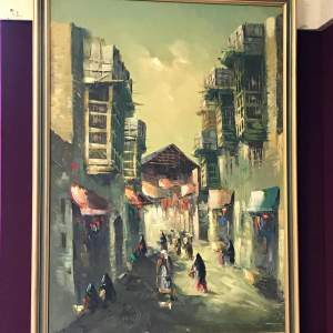 Middle Eastern Oil Painting of the Old Town Of Damascus
