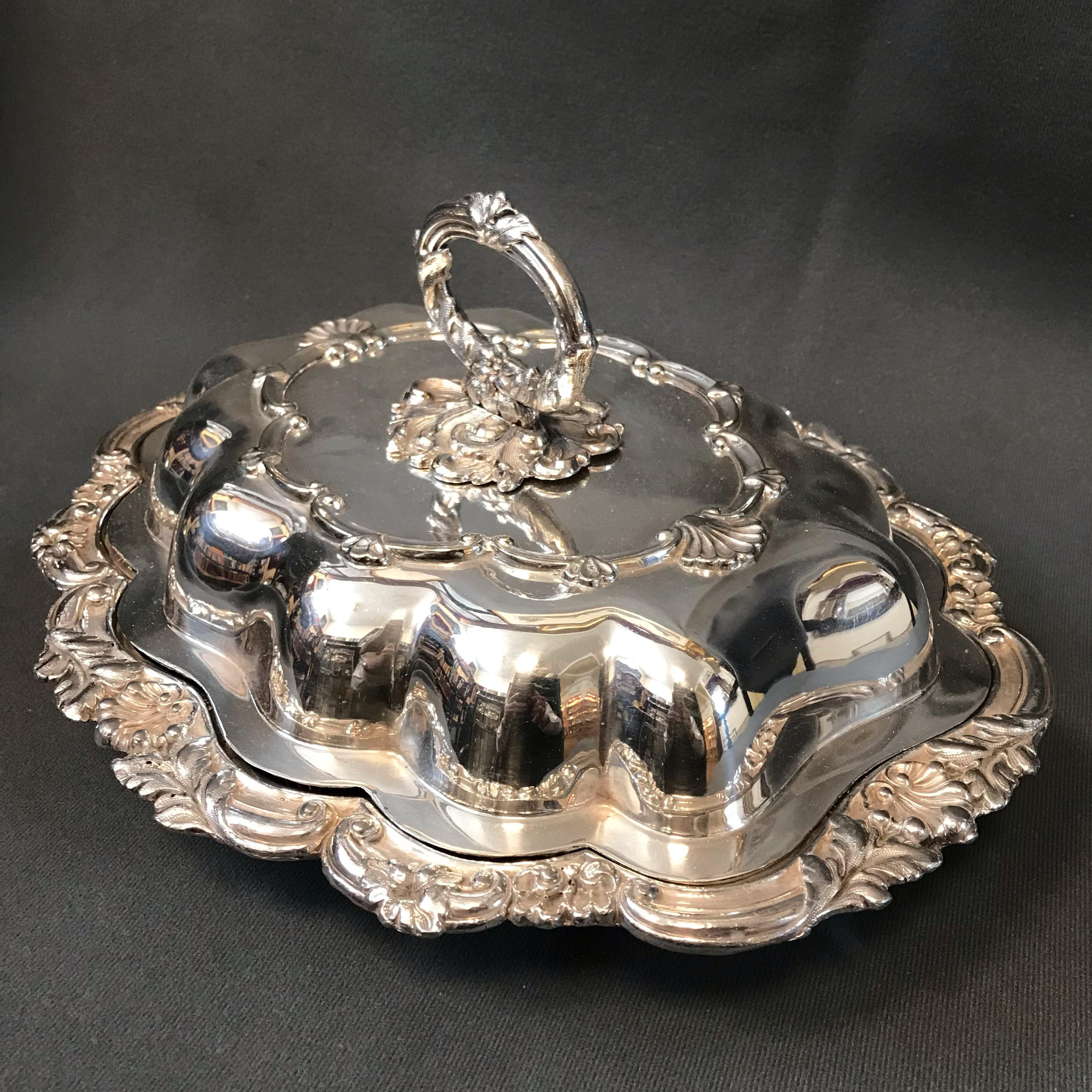 Victorian Old Sheffield Plate Entree Dish - Antique Silver
