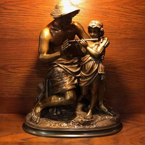 French Bronze Figure of a Boy Being Taught to Play the Flute image-1
