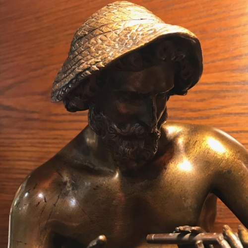 French Bronze Figure of a Boy Being Taught to Play the Flute image-3