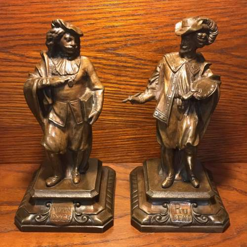 Pair of French Bronze Figures of Rubens and Van Dyck image-1