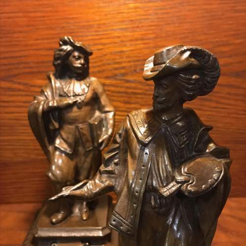Pair of French Bronze Figures of Rubens and Van Dyck image-2
