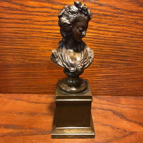 French Miniature Bronze Bust of a Lady image-1