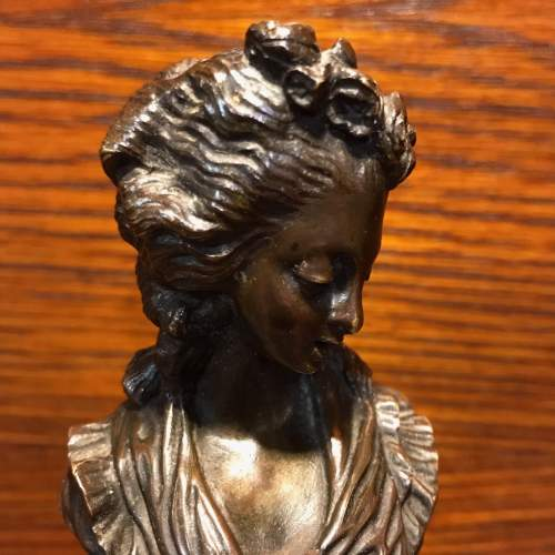French Miniature Bronze Bust of a Lady image-2