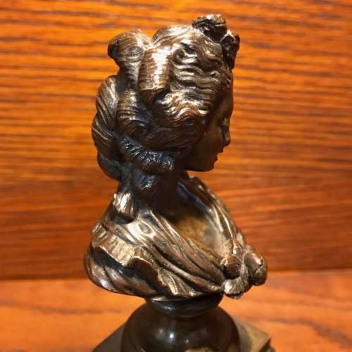 French Miniature Bronze Bust of a Lady image-4