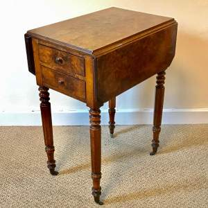 19th Century Burr Walnut Pembroke Sewing Table
