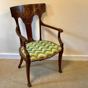 Neo Classical Inlaid Mahogany Armchair