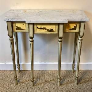 Elegant Painted Chinoiserie Marble Topped Side Table