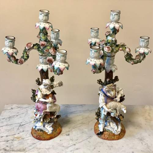 19th Century Pair of Floral Encrusted Figural Candelabra image-1