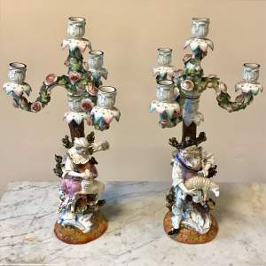 19th Century Pair of Floral Encrusted Figural Candelabra