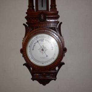 Carved Oak English Aneroid Barometer