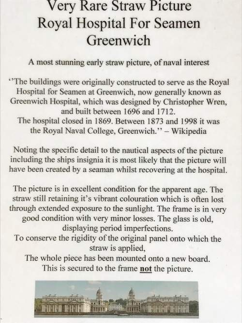 Very Rare Straw Picture of the Greenwich Royal Hospital image-5