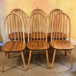 Set of Six 1970s Beech and Elm Dining Chairs