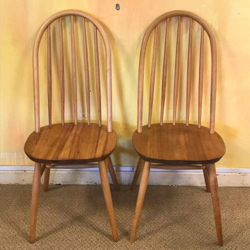 Set of Six 1970s Beech and Elm Dining Chairs image-2