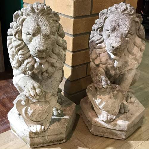 Pair of Weathered Vintage Garden Lions image-1