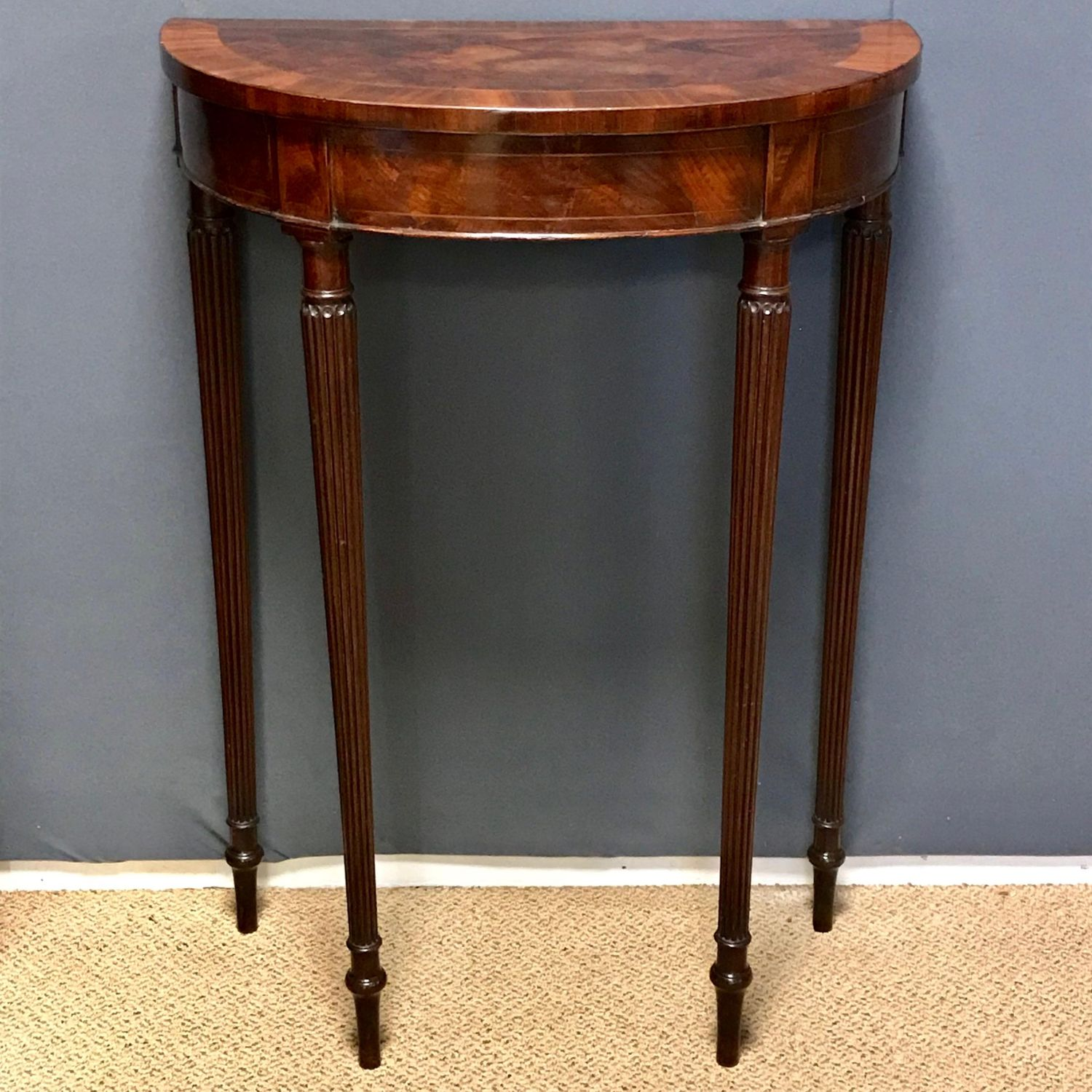 Half Rond Side Table.Early 19th Century Small Demi Lune Mahogany Side Table