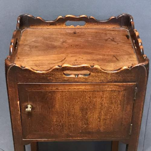 George III Period Mahogany Tray Top Bedside Table image-2