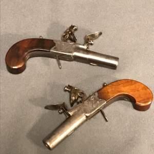 19th Century Pair of Flintlock Boxlock Pocket Pistols