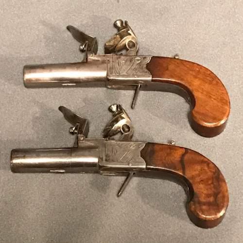 19th Century Pair of Flintlock Boxlock Pocket Pistols image-4