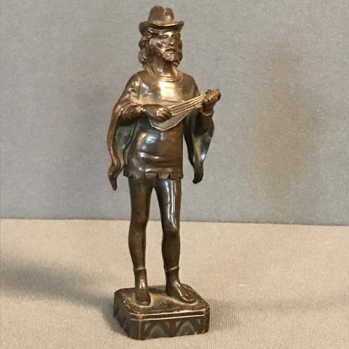 Late 19th Century Cast Bronze Figure of a Lute Player image-1