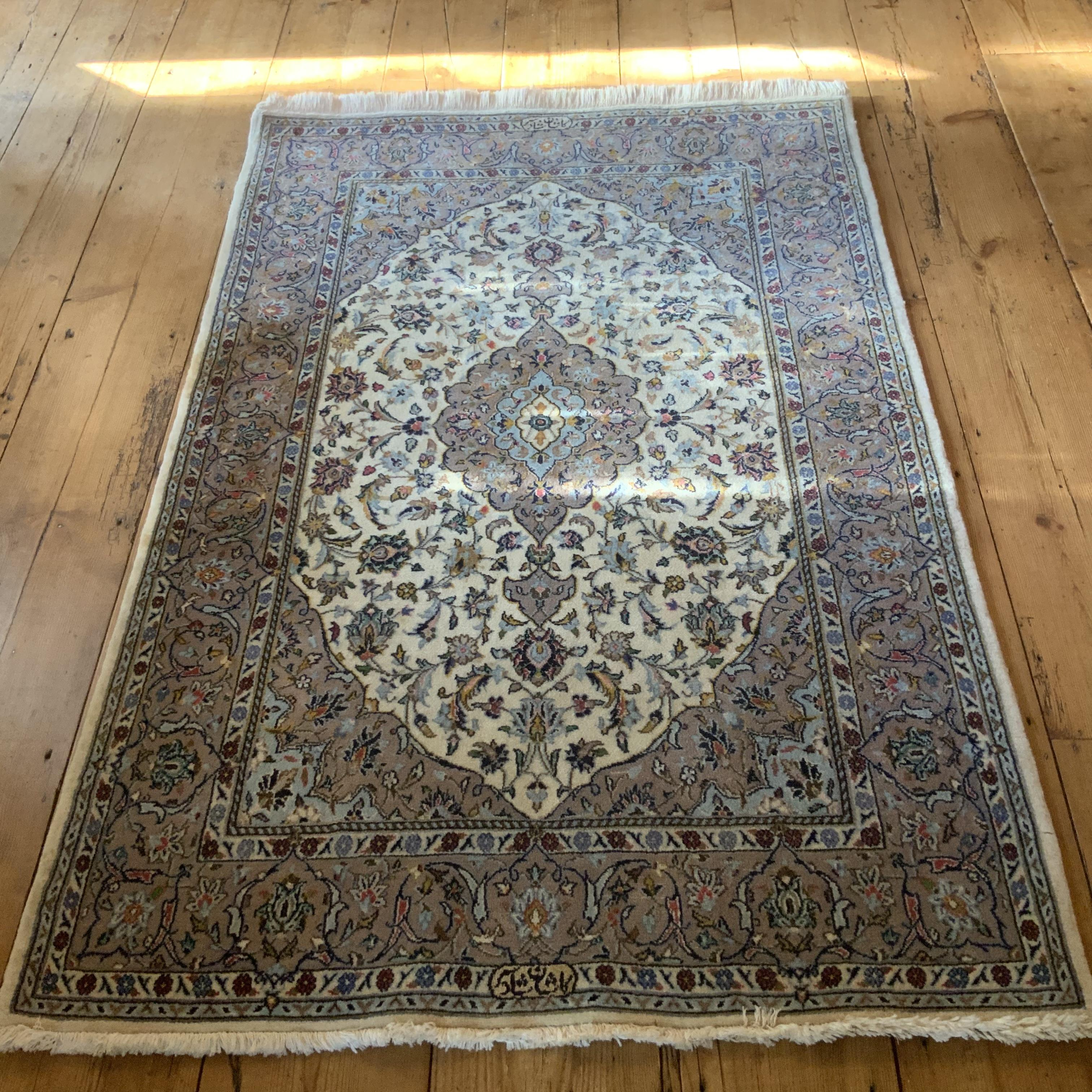 Hand Knotted Persian Rug Kashan Superb Quality With