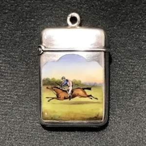 Victorian Silver and Enamel Horse Racing Scene Vesta