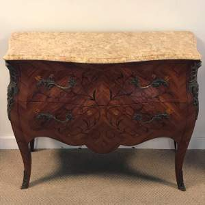 French Marquetry Inlaid Kingwood Chest Of Drawers