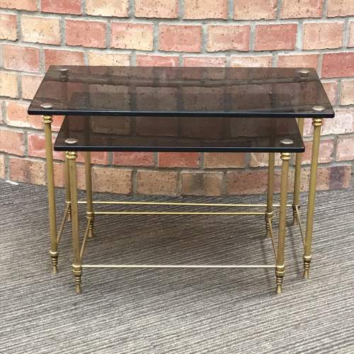 Hollywood Regency Nest of Two Glass Topped Brass Tables image-1