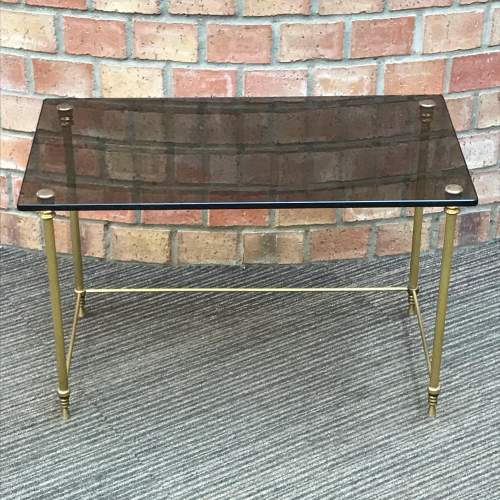 Hollywood Regency Nest of Two Glass Topped Brass Tables image-2