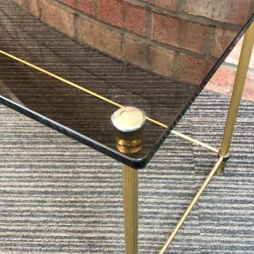 Hollywood Regency Nest of Two Glass Topped Brass Tables image-3