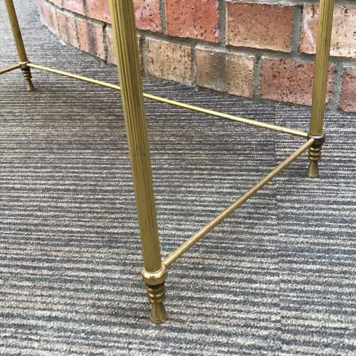 Hollywood Regency Nest of Two Glass Topped Brass Tables image-4