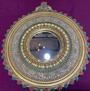 A Stunning Belgian Gilt Baroque Style Convex Mirror Very Unusual