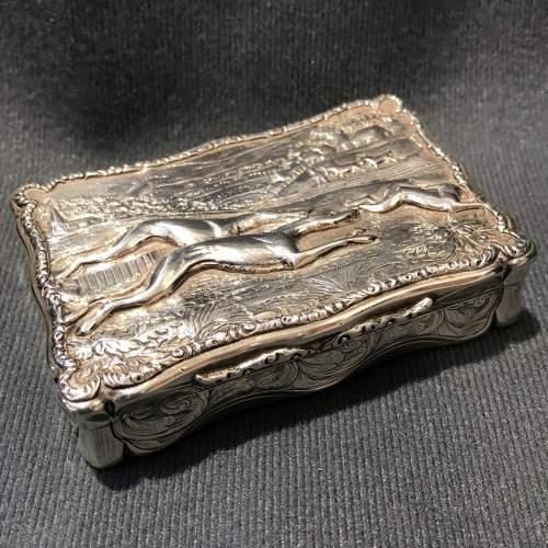 Victorian Silver Snuff Box with a Grey Hound Scene image-1