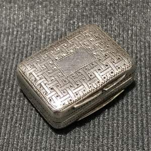 George IV Period Silver Vinaigrette with Basketweave Pattern