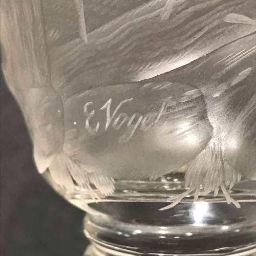 Bohemian Cut Crystal Goblet with Hunting Scene image-5