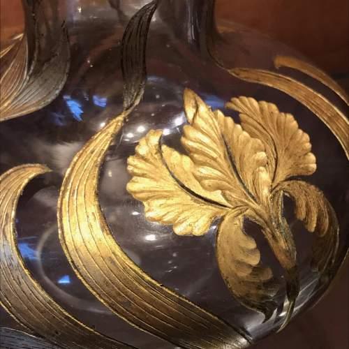 Art Nouveau Gilded and Cut Glass Vase image-2
