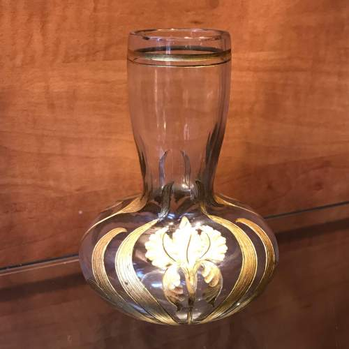 Art Nouveau Gilded and Cut Glass Vase image-1